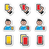 Football or soccer yellow and red card icons set Royalty Free Stock Photography