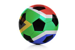 Football with South Africa flag isolated on white Stock Photo