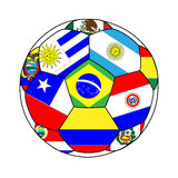 Football with South American Flags 2 Royalty Free Stock Photo