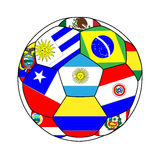 Football with South American Flags Royalty Free Stock Images