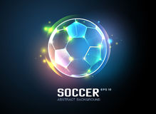 Football with sparkling light abstract background. 