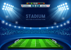 Football 02 Sport Background. Vector Soccer Stadium Score Board Empty Field Background Nocturnal View EPS 10 JPG JPEG Royalty Free Stock Images