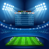 Football 01 Sport Background. Vector Football Stadium Empty Field Background Nocturnal View Stock Photo