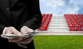 Football sport business concept, Businessman invest in football. Arena Royalty Free Stock Images