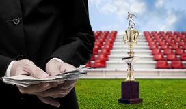 Football sport business concept, Businessman invest for football. Trophy Stock Images