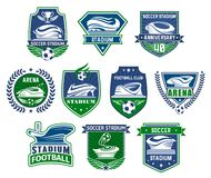 Football sport badge with soccer ball and stadium. Football sport club badge with soccer stadium. Sporting arena for football tournament event with soccer ball Stock Images