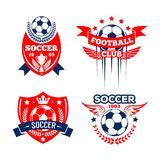 Football sport club of soccer game badge set Royalty Free Stock Photos
