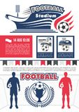Football sport competition poster for soccer match Royalty Free Stock Image