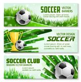 Football sport 3d banner of soccer ball and trophy Royalty Free Stock Photos