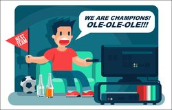 Football sport fan, yell, watching TV, and drink beer cool  banner or poster illustration Stock Photography