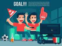 Football Sport fans watching TV broadcasting, guy & girl yell, drink beer cool  banner or poster illustration Royalty Free Stock Photos