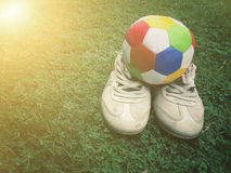 Football sport. Football on field with copy space, sport concept Royalty Free Stock Images
