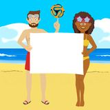 Football, sport, fitness and people concept - young people with soccer ball on summer beach holding blank board Stock Images