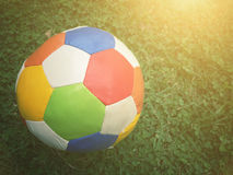 Football sport. Football on field with copy space, sport concept Stock Photo