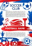 Football sport game poster of soccer club match Stock Image