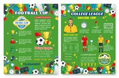 Football sport poster with soccer team equipment Royalty Free Stock Images