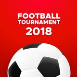 Football 2018 poster design with soccer ball. Football sport poster design. Red color vector background with soccer ball. 2018 banner template trend Stock Photography