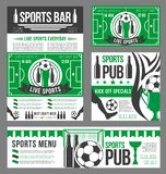 Football sport pub banner of soccer ball and beer. Football sport pub banner template with soccer ball, beer drink. Sport bar menu and football game championship Royalty Free Stock Image