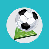 Football with sports field flat design Royalty Free Stock Photos
