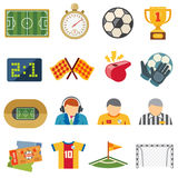 Football sports flat vector icons. Soccer game symbols. Football game team, trophy and ticket illustration Royalty Free Stock Images