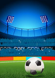 Football Stadium. A football  placed on a football stadium. Vector illustration Royalty Free Stock Photography