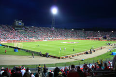 Football Stadium. Night image of the Slaski Stadium before the 2010 FIFA World Cup qualification match between Poland and Northern Ireland on September 5, 2009 Royalty Free Stock Image