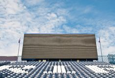 Football  Stadium. Blue seat at football  Stadium Royalty Free Stock Photography