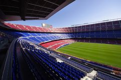 Football stadium. Wide view of FC Barcelona (Nou Camp) soccer stadium Stock Photography