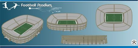 Football stadium 3d vector Royalty Free Stock Images