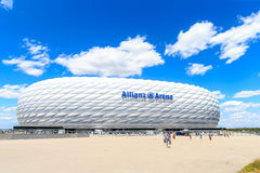 The football stadium Allianz Arena. MUNICH, GERMANY - JULY 30, 2015: the football stadium Allianz Arena on Jul 30, 2015 in Munich, Germany. It designed by Herzog royalty free stock photography