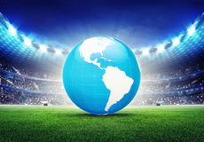 Football stadium with America globe map Stock Photos