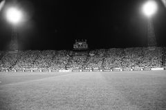 Football Stadium B&W. Night image of the Slaski Stadium before the 2010 FIFA World Cup qualification match between Poland and Northern Ireland on September 5 Stock Images