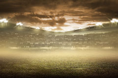 Football stadium background. Image of empty football stadium background. You can put your design Stock Photos