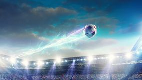 Free Football Stadium Background With Flying Ball Royalty Free Stock Image - 144455076
