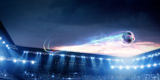 Free Football Stadium Background With Flying Ball Stock Image - 144789871