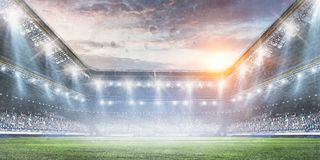 Free Football Stadium Background With Flying Ball Stock Images - 150188924