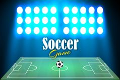 Football stadium with a ball on a football field and searchlight with an abstract glitter light. viewers at a football. Stadium at night, vector illustration royalty free illustration
