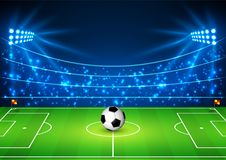 Football Stadium with a ball. Soccer field in the light of searchlights. Football World Cup. Vector illustration.  stock illustration