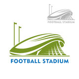 Football stadium building with flags Royalty Free Stock Photos
