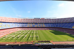 Football stadium Camp Nou interior with grass field, grow lighting and stands in Barcelona Royalty Free Stock Images