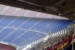 Football stadium Camp Nou interior stands in Barcelona Royalty Free Stock Photo