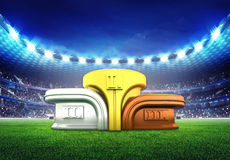 Football stadium with champion podium Royalty Free Stock Images
