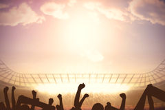 Football stadium with cheering crowd Royalty Free Stock Photography