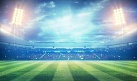 Football stadium 3D. Lights at night and football stadium 3D stock images