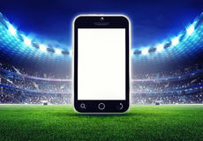 Football stadium with  empty cell phone display Stock Image