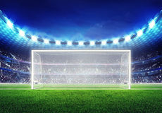 Football stadium with empty goal. Sport match background digital illustration my own design Stock Photography