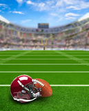 Football Stadium With Equipment on Field and Copy Space Stock Photography
