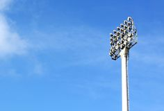 A football stadium floodlight. With metal pole Royalty Free Stock Photo