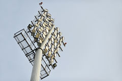 Football stadium floodlights Stock Images