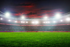 Football stadium before the game. Night lighting Stock Image